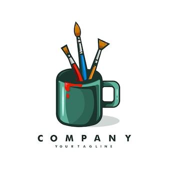 Malerei-logo-design mit becher- und pinselkonzept