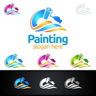 Malerei-logo mit pinsel und buntem kreis-konzept