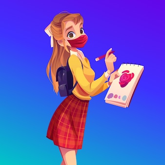 Malerin in gesichtsmaske mit notizbuch und bleistift