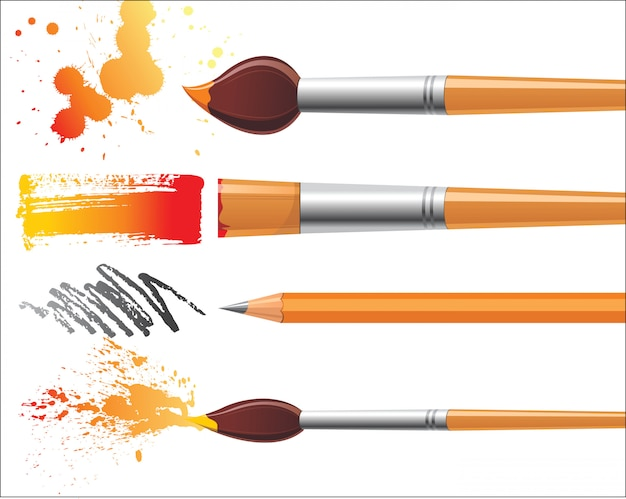Malerinstrumente mit ihren spuren