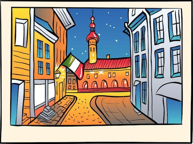 Malerische ansicht des rathauses in der mittelalterlichen altstadt, im skizzenstil.