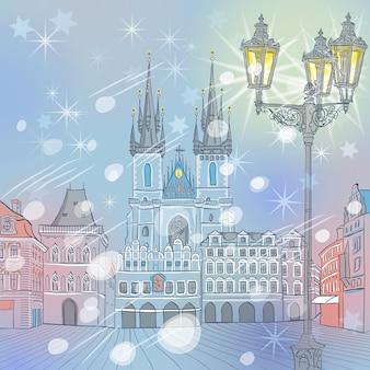 Malerische winteransicht des alten marktplatzes in prag in der tschechischen republik