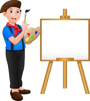 Malerjunge posiert vor der leinwand