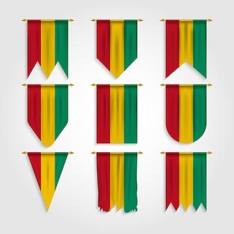 Mali flagge in verschiedenen formen, flagge von mali in verschiedenen formen