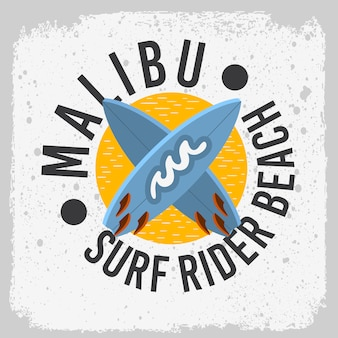 Malibu surf rider beach kalifornien surf surf design mit einem surfbretter logo zeichen label für promotion ads t-shirt oder aufkleber poster bild.