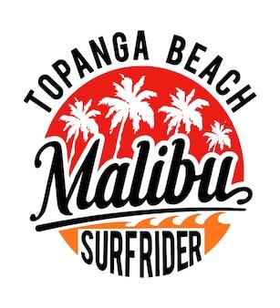 Malibu t-shirt-vektorgraphik strandes
