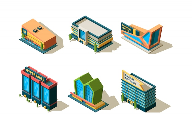 Mall isometrisch. große moderne gebäude des einkaufszentrums verschiedene architektonische stadtgeschäftssammlung