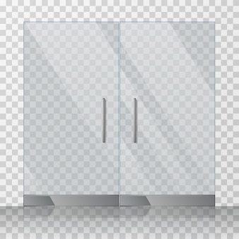 Mall, speichern glastüren vektor-illustration