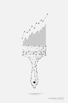 Malpinsel mit diagramm im polygonalen drahtmodellstil