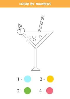 Malvorlage mit sommercocktail. farbe nach zahlen. mathe-spiel für kinder.
