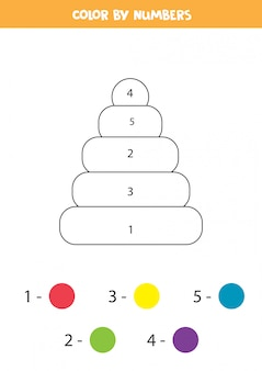 Malvorlagen für kinder. farbe nach zahlen. spielzeugpyramide.