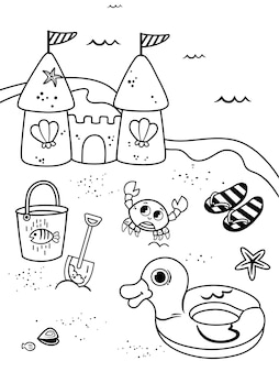Malvorlagen für kinder im strand-thema-vektor-illustration