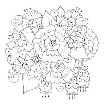Malvorlagen für kinder und erwachsene. blumenverzierung zum färben. botanischer schwarzweiss-hintergrund.