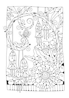 Malvorlagen für kinder und erwachsene. fantasieblumen, knospen und ein schmetterling. schwarzweiss-hintergrund zum färben. illustration.
