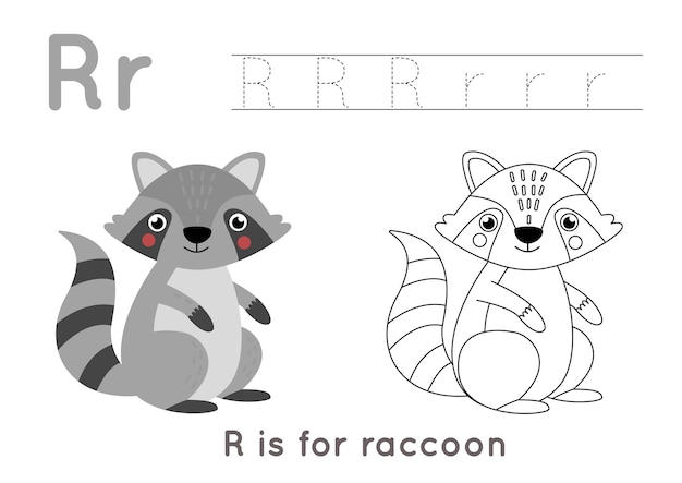 Malvorlagen mit niedlichen cartoon waschbär. arbeitsblatt zur alphabetverfolgung mit buchstabe r. handschriftpraxis für kinder.
