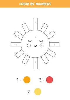 Malvorlagen mit niedlichen kawaii sun. farbe nach zahlen. mathe-spiel für kinder.