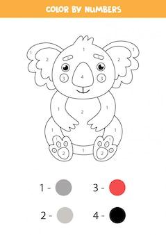 Malvorlagen nach zahlen für kinder. netter cartoon-koala.