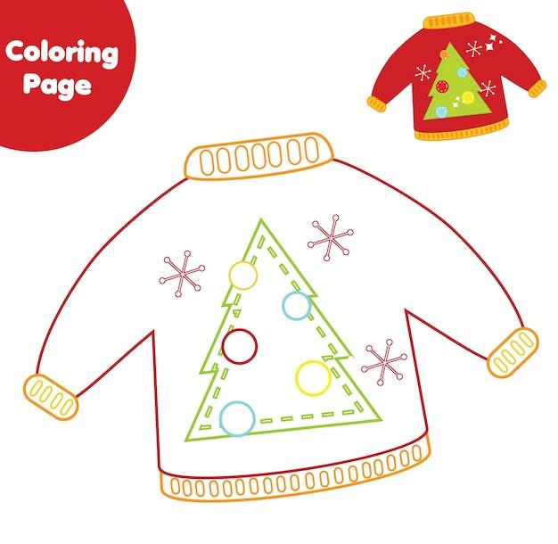 Malvorlagen. pädagogisches spiel für kinder. farbiger weihnachtspullover/zeichnen druckbare aktivität für kinder, kleinkinder. aktivitäten zum thema neujahrsferien