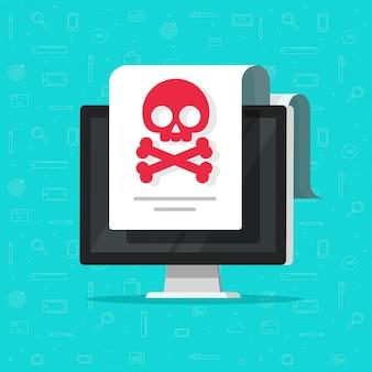 Malware-warnung oder betrugsbenachrichtigung auf flacher karikatur des computerdokuments