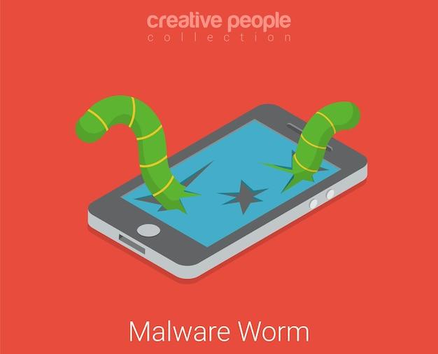 Malware-wurmvirus-app-software. flaches isometrisches touchscreen-gerät mit kaputtem bildschirmwurm online-internet-hacker-technologiekonzept