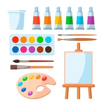 Malwerkzeuge elemente cartoon bunten vektor-set isoliert auf weiss. künstlerbedarf, glas für wasser, pinsel, behälteraquarell, tube, staffelei. gestalten sie kreative materialien für workshops, banner, karten