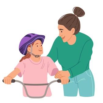Mama bringt ihrer tochter das fahrradfahren bei. hand gezeichnete illustration