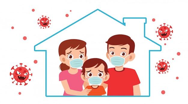 Mama, papa und kind bleiben während der pandemie zu hause