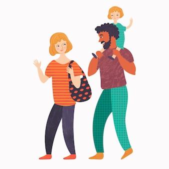 Mama, Papa und kleines Mädchen auf einem Spaziergang