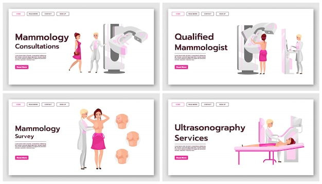 Mammographie-landingpage-vorlagen festgelegt. screening-tests für brustkrebs-website-schnittstellenidee mit flachen abbildungen. homepage-layout für medizinische sonographie. web-banner, webseitenkonzept