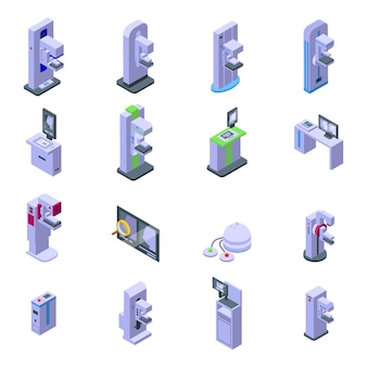 Mammographie-maschinensymbole gesetzt. isometrischer satz mammographie-maschinenvektorikonen für das webdesign lokalisiert auf weißem hintergrund