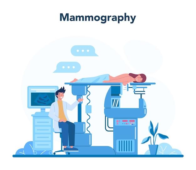 Mammologenkonzept. konsultation mit dem arzt über brustkrebs. idee der gesundheitsversorgung und ärztlichen untersuchung. brustultraschall und mammographie, diagnose der onkologie. isolierte vektorillustration