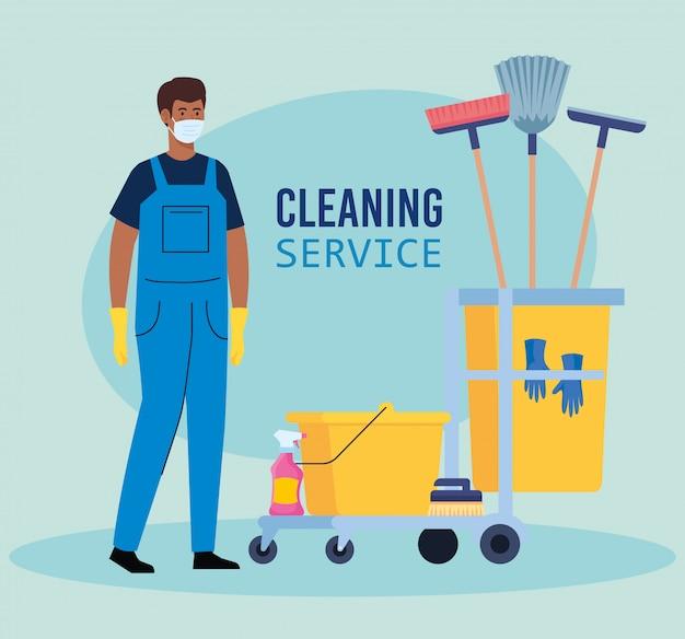 Man afro arbeiter des reinigungsdienstes, der medizinische maske trägt, mit reinigungswagen mit ausrüstungsikonenillustrationsentwurf