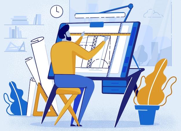 Man architect creator drafting am schreibtisch für skizze