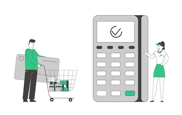 Man buyer holding riesige kreditkarte pushing trolley