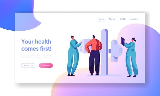 Man character check xray gesundheitswesen konzept landing page. medizinische radiologie moderne maschine für röntgen-skelett-brustuntersuchung. patient scan health website oder webseite. flache karikatur-vektor-illustration