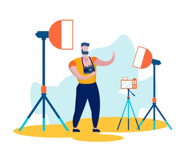Man character videographer oder blogger record video
