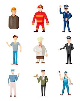 Man charaktere verschiedener berufe. karikatursatz des mannes