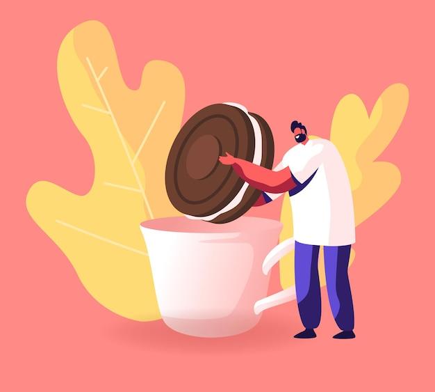 Man dunking schokoladenkeks mit sahne zu tasse mit heißem getränk. karikatur flache illustration