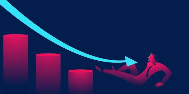 Man fällt die treppe hinunter. konkurs oder karriereversagen