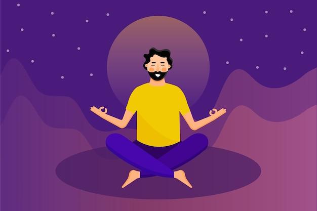 Man meditiert konzept