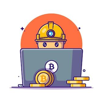 Man mining bitcoin mit laptop-cartoon-illustrationen