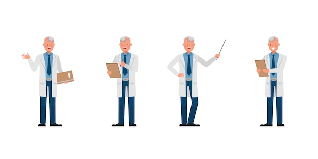 Man scientist charakter. präsentation in verschiedenen aktionen.