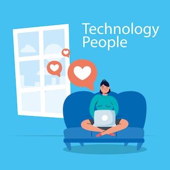 Man-technologie mit laptop-charakter