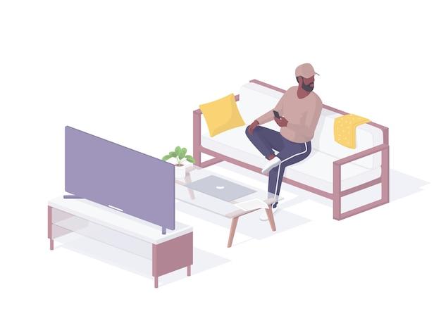 Man testet neue isometrische illustration des intelligenten fernsehers