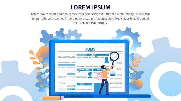 Man use loupe search beschäftigungszeitungsseite