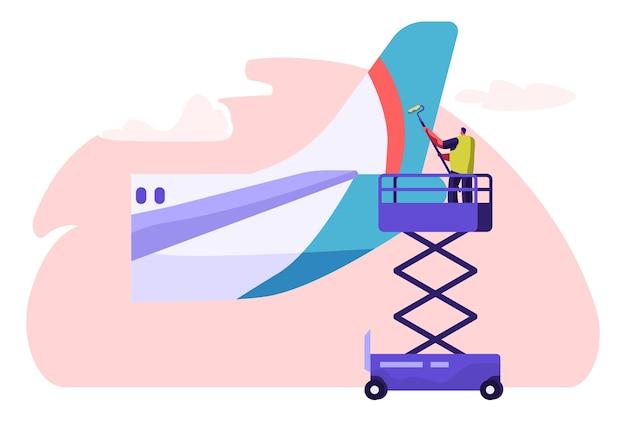 Man waschmaschine reinigung heckteil aus flugzeug. charakterwaschflugzeug mit walze und reinigungsmittel. flugzeugreinigungsservice.