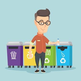 Man wirft plastikflasche weg.