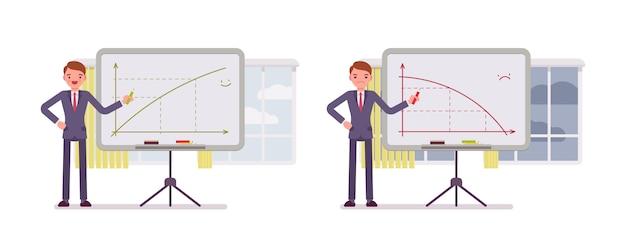 Man zeigt auf positive und negative charts auf dem whiteboard