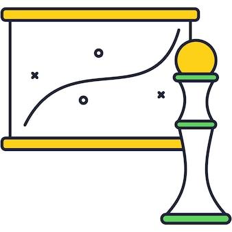 Management-diagramm und schachfigur-symbolvektor