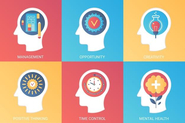 Management, gelegenheit, kreativität, positives denken, zeitkontrolle, konzept der psychischen gesundheit